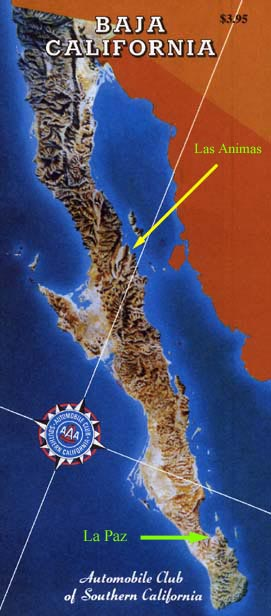 Bahia De Los Angeles Map.Baja California Map Of Bahia De Las Animas Map Of Baja California